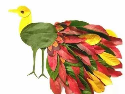 贴一个小动物 ▼ 家长朋友们可以 跟孩子们一起 把叶子先摆在卡纸上