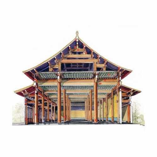 中国古建筑手绘 李乾朗教授手绘古迹建筑剖面图图稿