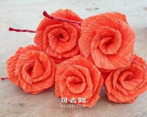 皱纹纸折玫瑰花的方法图解 最简单的皱纸纸花折法