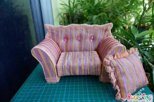 娃娃用的蕾丝沙发 蕾丝手工课