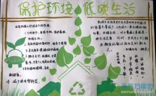 低碳环保手抄报图片简单又漂亮 环保手抄报一等奖图片